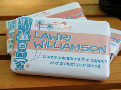 Image of promotional hotel soap created by Lawri Williamson